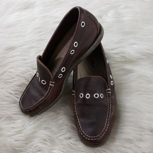 L.L. Bean Brown Studded Leather Loafers  Size 7.5